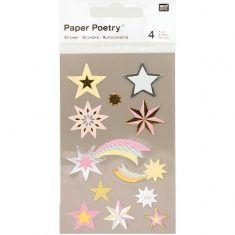 Sticker Sterne pastell metallic, 4 Bögen