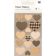 Sticker Herzen, Kraftpapier/schwarz, 4 Bögen