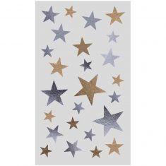 Sticker Sterne Mix gold-silber, 4 Bögen