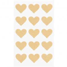 Kraftpapier Sticker Herzen, 60 Sticker