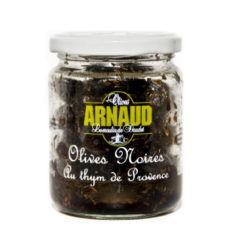 Schwarze Oliven mit Thymian der Provence