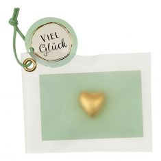 Herz, Keramik-Glücksbringer - Viel Glück