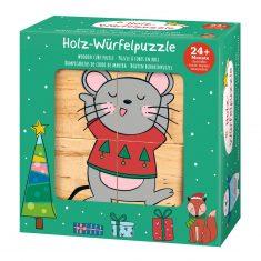 Holz-Würfelpuzzle Weihnachten