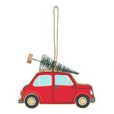 Deko-Anhänger Weihnachtsauto mit Tannenbaum