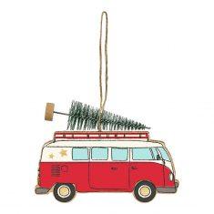 Deko-Anhänger Weihnachtsbus mit Tannenbaum