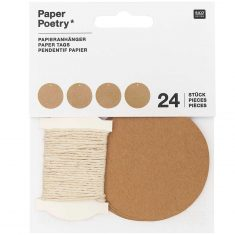 24 Papieranhänger aus Kraftpapier, rund