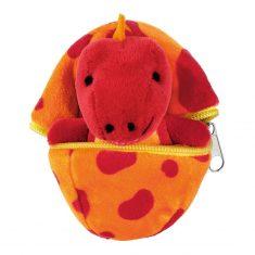 Kuscheliges Dino-Baby im Ei - rot/orange