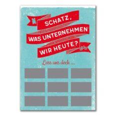 Rubbel-Postkarte - Was unternehmen wir heute?