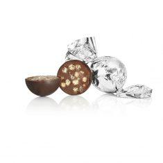Schokoladenkugel, silber - Dunkle Schokolade mit Haselnusscrunch