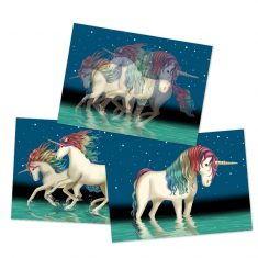 Wackelbild-Postkarte - Einhorn Lunabelle