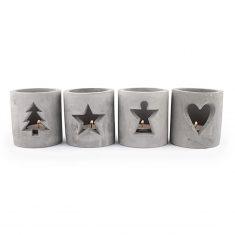 Teelichthalter aus Beton - Advent