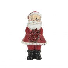 Deko-Weihnachtsmann mit Glittergeschenk, 7 cm, stehend