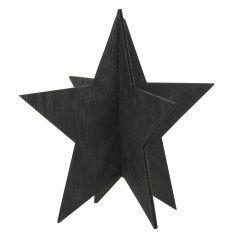 Deko-Stern aus Holz, 13 cm, schwarz