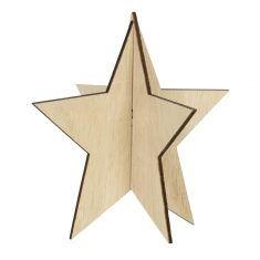 Deko-Stern aus Holz, 13 cm, natur