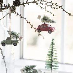 Deko-Auto mit Tannenbaum, 7 cm, hängend