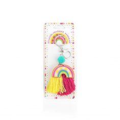 Schlüsselanhänger Regenbogen - GOOD FEELINGS, gelb-pink
