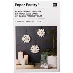 Bastelset - Papiertüten-Sterne, klein + weiß