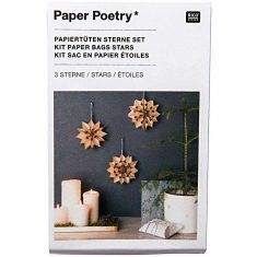Bastelset - Papiertüten-Sterne, klein + naturbraun
