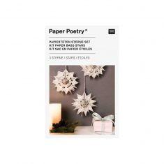 Bastelset - Papiertüten-Sterne JOLLY CHRISTMAS, klein + weiß