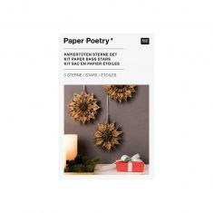 Bastelset - Papiertüten-Sterne JOLLY CHRISTMAS, klein + braun