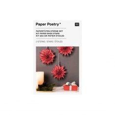 Bastelset - Papiertüten-Sterne JOLLY CHRISTMAS, klein + rot
