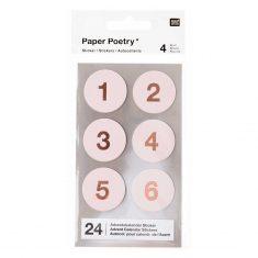 Adventskalender-Sticker, puder/kupfer, 24 Stück