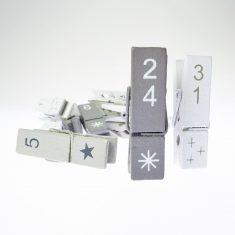 Adventskalender-Klammern, Zahlen 1 bis 31 - grau-grau-weiß