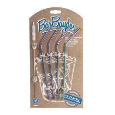 BarBaydos® Edelstahltrinkhalme  - 4er Set & Bürste, Rainbow
