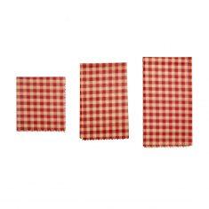 Bienenwachstücher - Karo rot-orange, 3er-Set