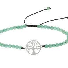 Echtsteinarmband, grüner Achat & Symbol Baum des Lebens