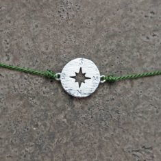 Make a wish Armband - Compass silver/olive, von mint.
