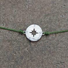 Make a wish Armband - Compass silver/olive, von mint.