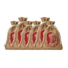 Jutesäckchen mit Weihnachtsmann-Motiv, rot, 6er-Set
