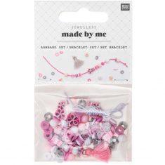 Made by Me Perlen Armband Set - rosa-grau