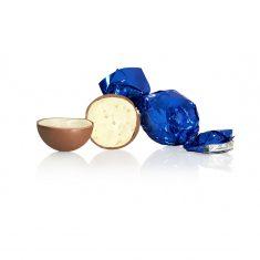 Schokoladenkugel, blau - Vollmilchschokolade mit Joghurtcreme
