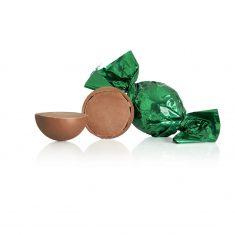 Schokoladenkugel, dunkelgrün - Vollmilchschokolade mit Nougat
