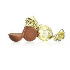 Schokoladenkugel, gold - Vollmilchschokolade mit Karamell