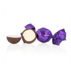 Schokoladenkugel, lila - Milchschokolade mit weißer Füllung