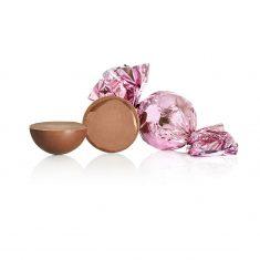 Schokoladenkugel, pink - Vollmilchschokolade mit Orangencreme