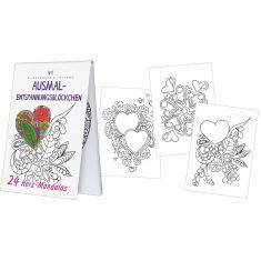 Ausmal-Entspannungsblöckchen - 24 Herz Mandalas