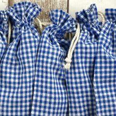 Baumwollbeutel - Bauernkaro blau, 6er-Set