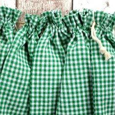 Baumwollbeutel - Bauernkaro grün, 6er-Set