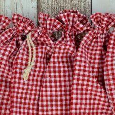 Baumwollbeutel - Bauernkaro rot, 6er-Set