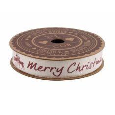 Geschenkband aus Baumwolle - Merry Christmas, creme