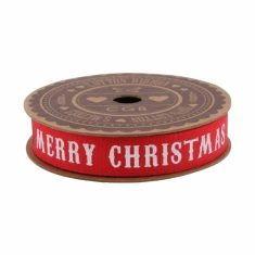 Geschenkband aus Baumwolle - Merry Christmas, rot