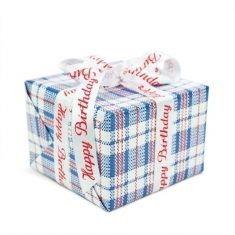 Geschenkpapier - Marktkaro blau