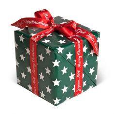 Geschenkpapier - Sterne dunkelgrün