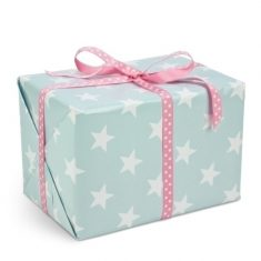 Geschenkpapier - Sterne türkis