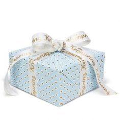 Geschenkpapier - Tupfer blau/gold