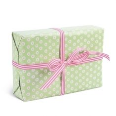 Geschenkpapier - Tupfer grün/rosa